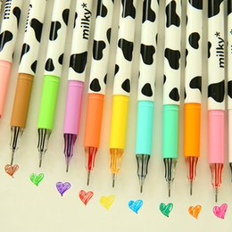 Wholesale Pen Cow - 48 color set Diamond gel pen Milky cow pen Kwaii Korean Stationery zakka Canetas papelaria material escolar school supplies p009