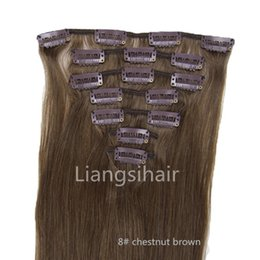 """Wholesale hair chestnut - Brazilian virgin Remy Human Hair Extensions 15"""" 18"""" 20"""" 22"""" 70g 8# chestnut brown Straight Style Clips in Hair Extension"""