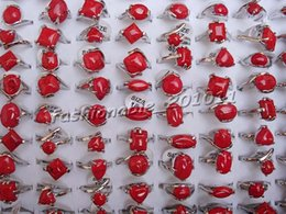 Wholesale Turquoise Red Rings - Top Quanlity Fashion Red Turquoise Ring New Mixed 60PCS Oversize Natural Stone Ladies Charm Rings