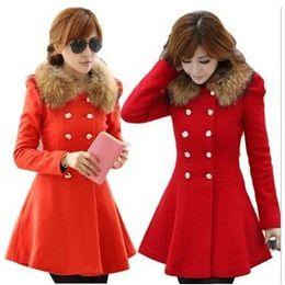 Wholesale Coat Dress Red Wool - 2016 Fashion Coat New Long Trench Coat Dress Fur Collar Women Winter Woolen Coat Christmas Long Sleeve Parka Plus Size Ladies Outerwear W58
