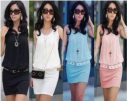 Wholesale Wholesales Midi Dresses - Hot sale Fashion Sleeveless Dresses,Crew -neck Dresses For women,cotton spring Summer Dresses Free Shipping