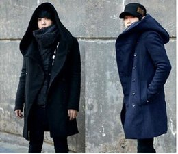 Wholesale Long Woolen Dresses - Winter Mens Long Woolen Trench Coat Male Hooded Jacket Coat Korean Style For Men Warm Dress Overcoat Plus Size