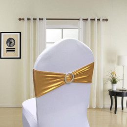 Wholesale Royal Blue Spandex Chair Covers - 200pcs Metallic Gold Silver Spandex Lycra Chair Sashes Bands Royal Blue Purple Pink Chair Cover Sash Wedding Party Chair Decor