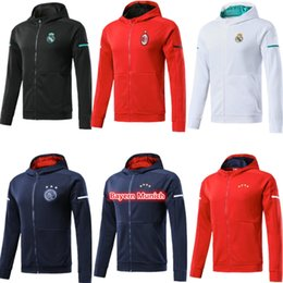 Wholesale Football Winter Jackets - 17 18 real madrid hoodie 2018 AC milan red jacket with caps ajax 2018 blue hoody tracksuit sweater jogging suit survetement training suit