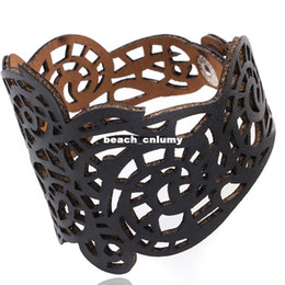 Wholesale Wide Leather Bracelet Cuff - 4 colors Wide hollow Bracelets for women Vintage Cuff Adjsutable Faux leather fashion Bracelets & Bangle jewelry lady Valentine's Day Gifts