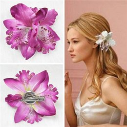 Wholesale Orchid Sales - lackingone & hot sale Bohemia Orchid Peony Flowers Hair Clips Hairpin Corsage Hair Jewelry Fashion Tiara 5 colors can be choosed