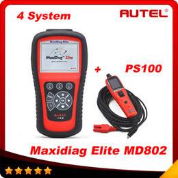 Wholesale Maxidiag Md - [Authorized Distributor] AUTEL MaxiDiag Elite MD802 4 system MD 802 PRO (MD701+MD702+MD703+MD704) auto code reader + PS100 As Gift