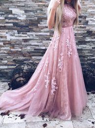 Wholesale Vestidos Formales - Real Image Pink Lace Prom Dresses Sexy Backless Dresses Evening Wear Formal Evening Dress Long Appliques Floral Vestidos Formales De Noche