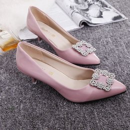 Wholesale Female Jobs - Fine pointed high-heeled shoes with a single female 2015 autumn new diamond square buckle shoes shallow mouth low-heeled shoes OL job @02