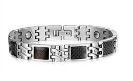 Wholesale Magnetic Sports Bracelet Titanium - Newest Health Stainless Steel Bracelets For Men Fashion Steel Jewelry Wholesale Steel Titanium Magnetic Bracelet Wear Black Stone