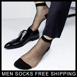 Wholesale thin silk dresses - Men supper Thin TNT Socks Nylon silk Sexy sock True picture Male formal dress suit socks Sexy See through Socks BLACK