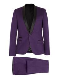 Wholesale Purple Tuxedo Coat - Wholesale-Purple Men New Wedding Groom Dinner Pop Suit Tuxedo Jacket Blazer Coat Pant Trouser