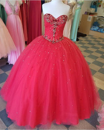 Wholesale Images Sweet Heart Neck - Real Image Red Crystal Beads Quinceanera Dresses Ball Gown 2018 Sweet 15 Dress Sweet-heart Vestido De Festa Pleats Long Puff Prom Gowns