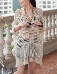 Wholesale Hot Fishnet Dresses - Beach Tunic Dress Beach Fashion Swimwear Cover up Women 2015 Hot Vogue Casual Fishnet Hollow-out Beachwear