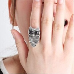 Wholesale Owl Rings Jewelry - Fashion Jewelry Statement Ring Vintage Owl Trendy Korean Jewelry Zinc Alloy Metal Retro Owl Ring For Women Fashion Jewelry Silver Ring