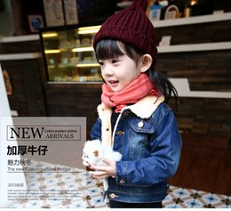 Wholesale Warm Jacket For Baby Boy - Boys and girls baby children thick denim jacket in warm lamb's wool coat jacket sleeve quilted denim clothing for children