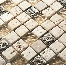 Wholesale Glass Tile Backsplash Kitchen - Interior luxury Glass mosaic tile mounted mesh wall tiles kitchen backsplash dark emperador marble glass mosaic tiles