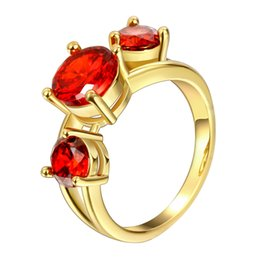 Wholesale China Wholesale Famous Brand - High Quality 18K Yellow Gold Plated Finger Ring for Women Party with AAA Red Cubic Zircon Famous Brand Jewelry