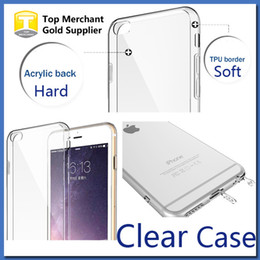 Wholesale Acrylic Crystals Blue - For S7 Apple iPhone 7 6s Plus Case Slim Crystal Clear Acrylic Hard Back TPU Soft Border Dustproof plug 2 in 1 Protective sleeve cover cases