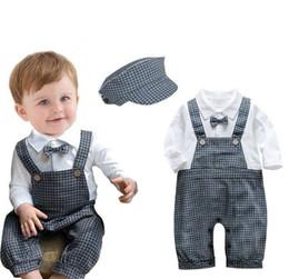 Wholesale Gentleman Suspender Pants - Baby Boys Gentleman Suspender Plaid pant rompers set (one piece romper+cap) Children Jumpsuits Climing Clothes Babies Clothes