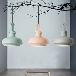 Wholesale Cloth Pendant Light Cord - led pendant chandelier lights creative personality modern minimalist nordic warm cloth stores dining room pendant light bedroom study lamps