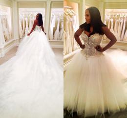 Wholesale Pearl Sweetheart Line Dress - 2017 Luxury Wedding Dresses Arabic Dubai Sweetheart Lace Beaded Crystal Ruffy Backless Tulle 3 METERS Train Plus Size Bridal Gowns Custom