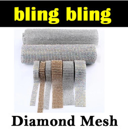 Wholesale Wedding Stickers Cars - 2016 Stickers DIAMOND MESH RHINESTONE WRAP RIBBON CRYSTAL TRIMMING CAKE BANDING Car Vehicle Wedding Decoration Free DHL E461J