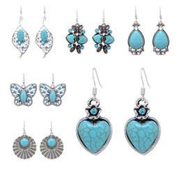 10 * Neue Ankunft Mode Türkis Herz Waterdrop Schmetterling Schmuck Zubehör Ohrringe Anhänger Ohrringe Vintage Boho Türkis Ohrringe von Fabrikanten