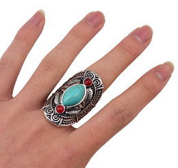 Wholesale Turquoise Engagement Rings Women - Bohemian style tibet silver design red turquoise gem stone big beachy boho joint rings for women 12pcs lot