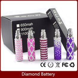 Wholesale Ego Luxury Kits - 2016 Luxury Nice Crystal diamond EGO ego battery assorted color e Cigarette battery for starter kit E cig 650mah 900 1100mah diamond battery