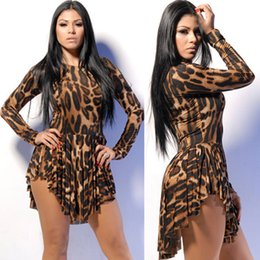 Wholesale Asymmetrical Animals - Fashion Sexy Womens Leopard Casual Dresses Asymmetrical Plus Size Fashion Party Dresses Long Sleeve Bandage Fringe Print Club Wear F048 5pcs