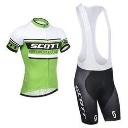 Wholesale Nylon Cycling Shirt - 2015 new arrival green Scott bike clothing bicycle shirts and mens padded cycling shorts bib pants