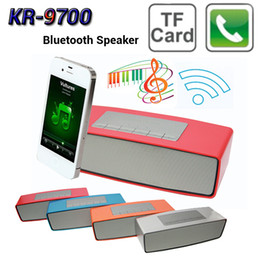 Wholesale Mp3 Player Built Battery - 4-Colors Mini Portable Bluetooth Speaker KR-9700 Loud Stereo Sport Subwoofer Micro SD Card Built Lithium Battery Music MP3 Player Soundbox