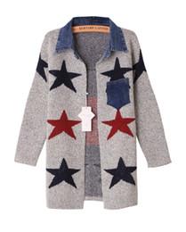 Wholesale Korean Geometric Print Sweater - Korean version of the new winter cowboy shirt collar Pentagram sweater knit cardigan