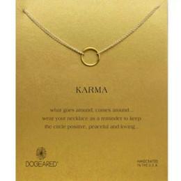 Collier cercle ouvert en or en Ligne-Karma Open Circle Collier avec Message Card Or Argent Martelé Open Circle Pendentif Collier Alliage Bijoux Cadeau