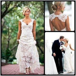 Wholesale Drop Ship Backless Dress - 2015 Lace Wedding Dresses Party Free Shipping Sleeveless Keyhole Back V Neck A Line Ivory Elegant Custom Made Bridal Gowns 2016