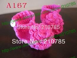 Wholesale Custom Sandals Wholesalers - Wholesale-Summer Baby crochet bootees Baby girl handmade Rose peony sandals Custom Free Shipping