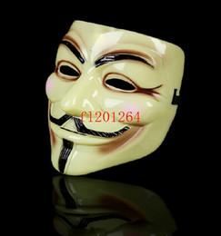 fabrication de masque pour enfants Promotion 50pcs Livraison gratuite V équipe de vendetta gars fawkes mascarade Halloween carnaval Masque blanc jaune clair couleurs