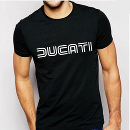 Wholesale Gold Motorcycles - Wholesale-Ducati T Shirts Men Letter Print tshirt Cotton O Neck Man T-Shirt Casual Short Sleeves Mens Brand Motorcycle Sport Tees Tops
