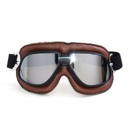 Wholesale Helmet Pilot Goggles Biker - 2017 MJMOTO Helmet Goggles With Smoking Lens Motorcycle Goggle Vintage Pilot Biker Leather For Motorcycle Bike ATV Goggles Brown