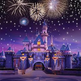 2019 cámaras del cielo Fondo chispeante de los fuegos artificiales Estrellas Castillo de la vendimia princesa Fotografía fondos de vinilo Tela niños fiesta de cumpleaños de los niños Estudio