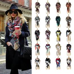 Wholesale Triangle Cashmere Scarves - Hot 1 pc Women Plaid Scarves Grid Tassel Wrap Triangle 140*140*220cm Check Scarfs Tartan Cashmere Scarf Winter Neckerchief Lattice Blankets