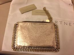 Wholesale Golden Zipper - golden Falabella shaggy deer stella W18*H12cm women PVC coin purses with crack PVC golden material
