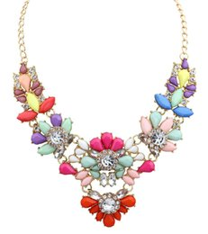 Wholesale Crystal Spike Collar - Wholesale-New Charm Multicolor rainbow flower Crystal Rhinestone Big Chunky Necklaces & pendants spike Statement Collar Womens Jewelry
