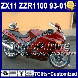 Wholesale Kawasaki Zzr Red - 7gifts all gloss red For KAWASAKI NINJA ZX11 93-01 36F42 Glossy red ZX11R ZX 11 ZZR 1100 93 94 95 96 97 98 99 00 01 ZZR1100 ZX-11 Fairing