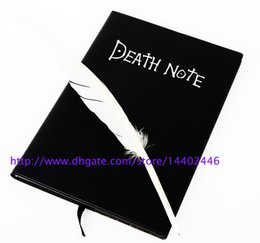 Wholesale Hardcover Notebooks - 100pcs lot Japan Anime Death Note Fashion Cosplay Notebook Wholesale , Feather Pen Writing Journal Anime Theme Diary Record Free shipping