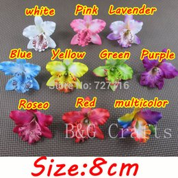 Wholesale Thailand Free Shipping Wholesale - Wholesale-Free shipping Mix 10 colors Silk Thailand Orchid flower head   8 cm Artificial Silk flowers phalaenopsis headwear without clip