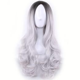 Longue Pas Cher Perruque Cospaly Harajuku Lolita Perruque Noir Ombre Gris Vague De Corps Synthétique Cheveux Mélange De Couleur Perruques pour Femmes ? partir de fabricateur