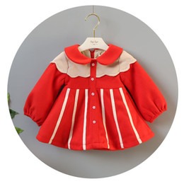 Wholesale Contrasts Dress Designs - INS 3 styles new Girl kids winter long sleeve ruffles doll collar plaid Hit color design winter warm woolen dress girl thick elegant dress