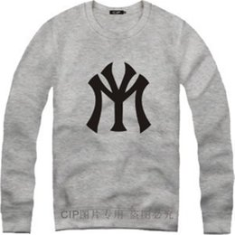 Wholesale Printing Ny - Wholesale-new famous brand hip-hop NY baseball Cotton Letter print Pullover Casual hoodies sweatshirt track sport suit sportswear set